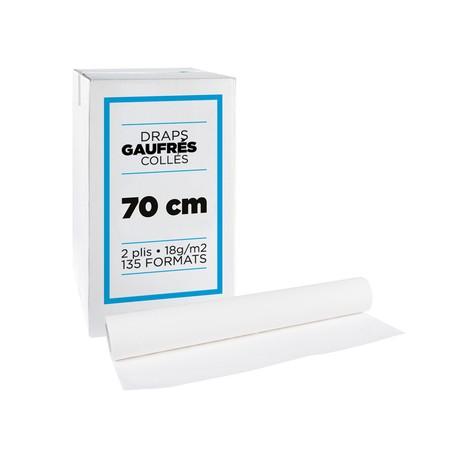 Draps d'examen gaufrés collés - 70 cm