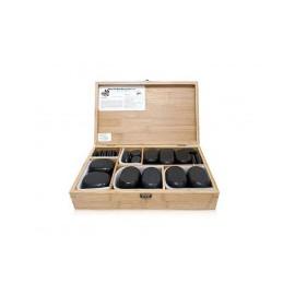 hete stenen van BASALTE voor therapieën, houten kist, met de hand gepolijst 36 stenen