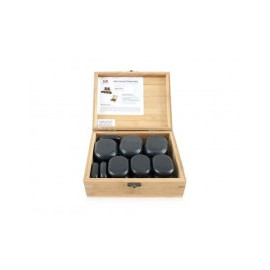Coffret Pierres chaudes de BASALTE pour thérapies,coffret en bois, polies à la main 18 unités