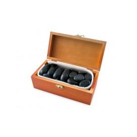 Hete stenen van BASALTE voor therapieën, houten kist, met de hand gepolijst 20 stenen