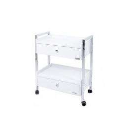 Proftrolley - luxe werkttafel 2 laden in hout met metalen structuur.