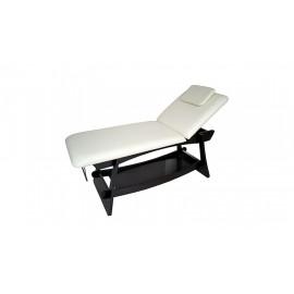Table fixe de massage à 2 plans avec structure en bois couleur wengé.